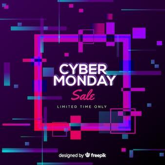 Cyber maandag te koop achtergrond neon stijl