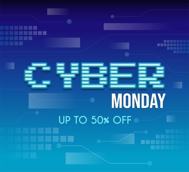 Cyber maandag tech vector posterontwerp met tekst seizoensgebonden verkoop