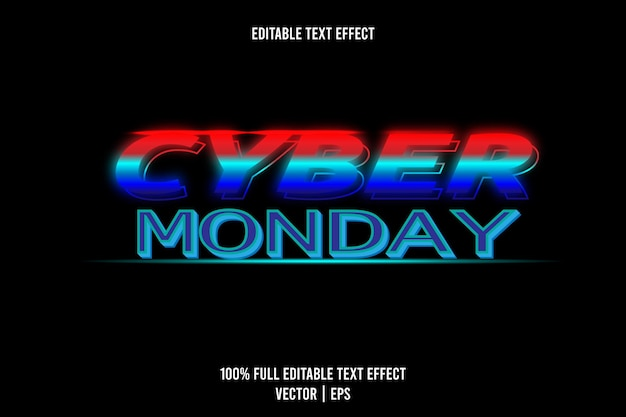 Cyber maandag teksteffect rode, cyaan en blauwe kleur