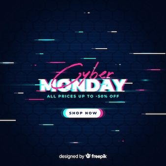 Cyber maandag uitverkoop met glitch effect
