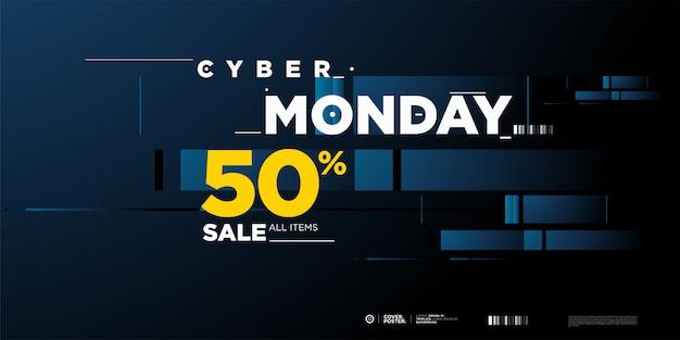 Cyber maandag verkoop 50% banner sjabloon