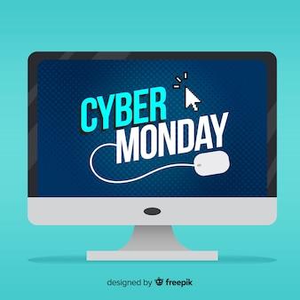 Cyber maandag verkoop achtergrond met computer