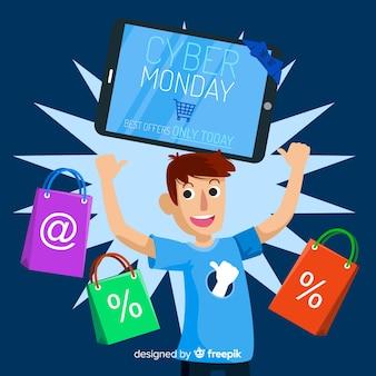 Cyber maandag verkoop achtergrond met man winkelen in platte ontwerp