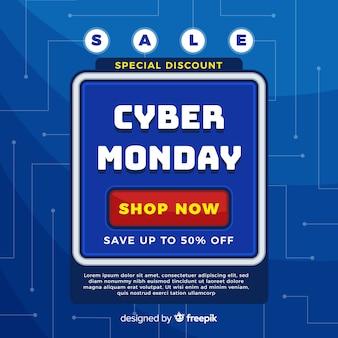 Cyber maandag verkoop achtergrond met video game stijl