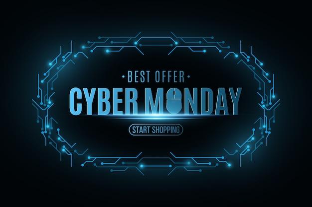 Cyber maandag verkoop banner. frame van elektronische printplaat.