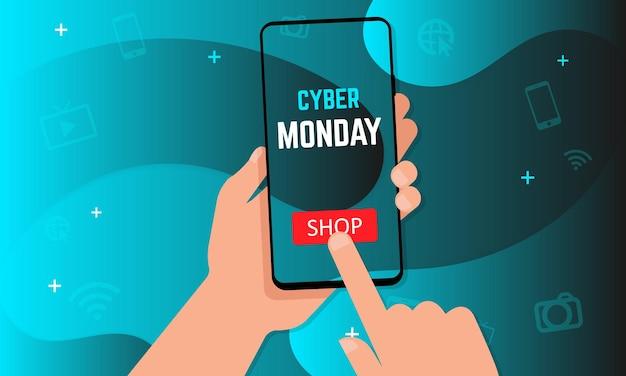 Cyber maandag verkoop banner. handen met smartphone met winkelknop op vloeibare vloeibare vormen technische achtergrond. vectorillustratie eps 10
