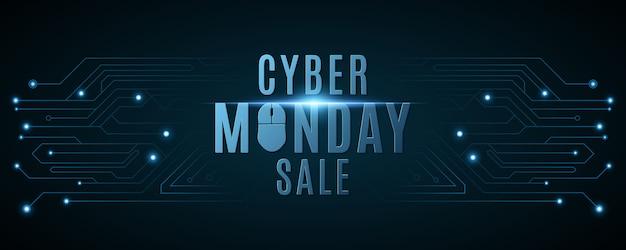 Cyber maandag verkoop banner. hi-tech achtergrond van een computerprintplaat.
