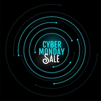 Cyber maandag verkoop banner in cirkelvormig ontwerp