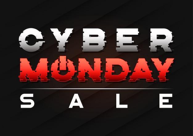 Cyber maandag verkoop banner met een glitch slee tekst.