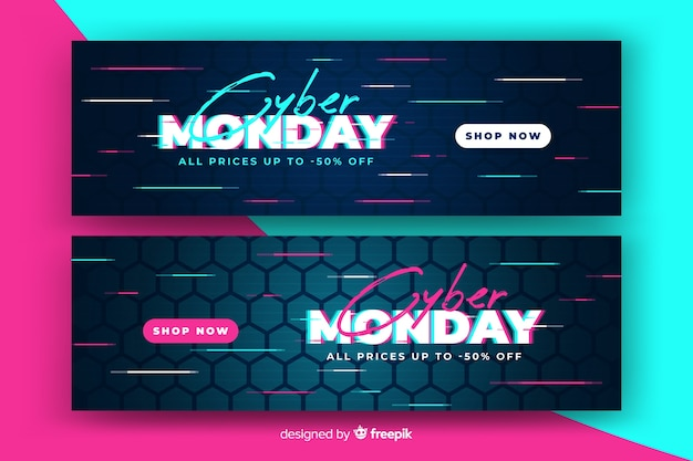 Cyber maandag verkoop banner met glitch effect