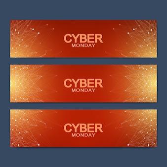Cyber maandag verkoop bannerontwerp. grafische abstracte achtergrondmededeling. vector illustratie.