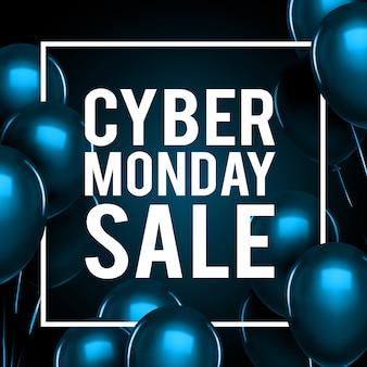 Cyber maandag verkoop belettering. blauwe ballonnen vector illustratie.