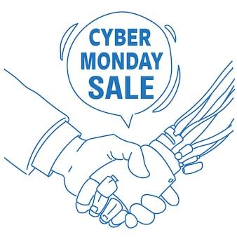 Cyber maandag verkoop menselijke robot hand schudden communicatie hulp chat bubble kunstmatige intelligentie schets doodle