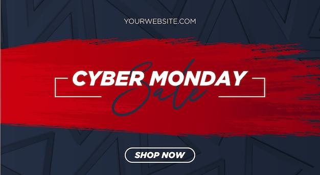 Cyber maandag verkoop met rode penseelstreek en 3d-achtergrond met geometrische vormen