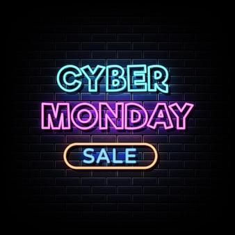 Cyber maandag verkoop neonreclame