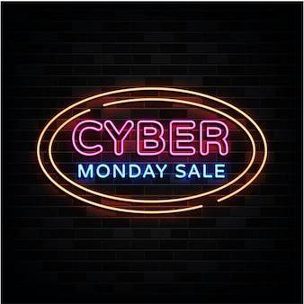 Cyber maandag verkoop neonreclames ontwerpsjabloon neonreclame