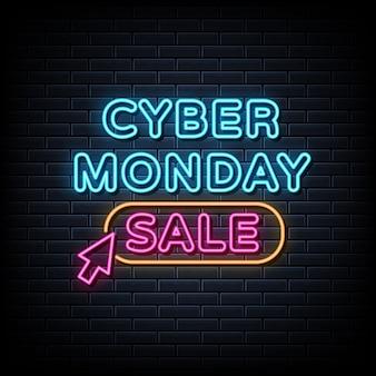 Cyber maandag verkoop neonteken, lichte banner, aankondiging neon uithangbord.