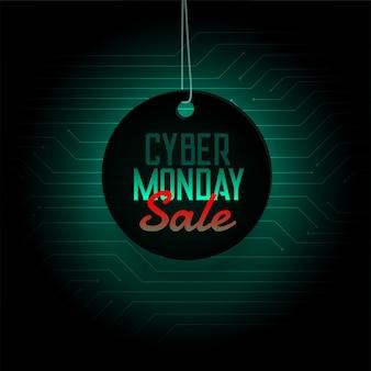 Cyber maandag verkoop opknoping tag ontwerp banner