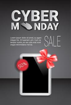 Cyber maandag verkoop sjabloon banner kortingen op moderne digitale tabletten