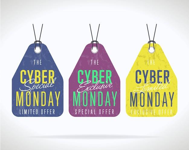 Cyber maandag verkoop sticker collectie geïsoleerd