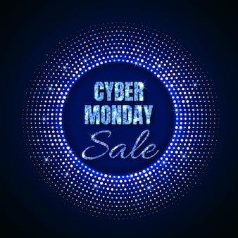 Cyber maandag verkoop technische achtergrond in neon stijl