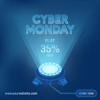 Cyber maandag verkoop technologie achtergrond sjabloon