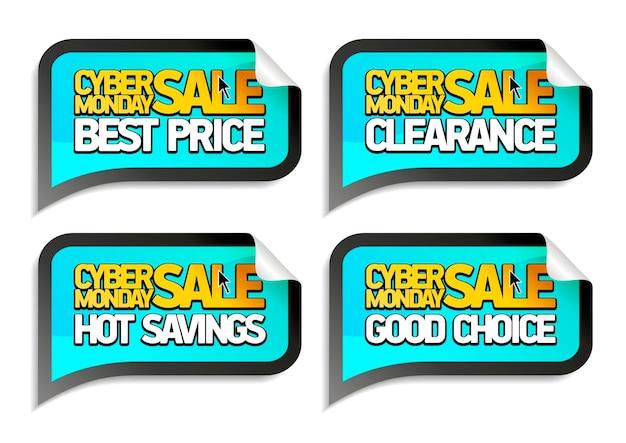 Cyber maandag verkoop vector stickers set - beste prijs, opruiming, warme besparingen, goede keuze
