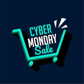 Cyber maandag verkoop winkelwagen tech banner