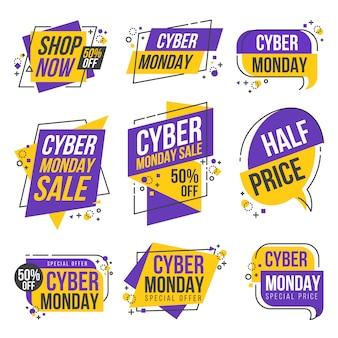 Cyber maandag winkelen dag origami banner label design collectie
