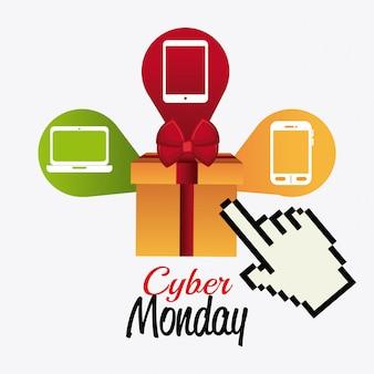 Cyber maandag winkelen ontwerp.