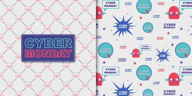 Cyber monday-belettering en transparant patroon