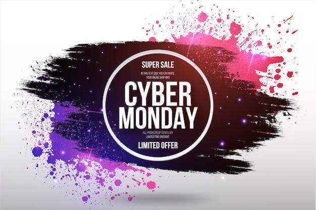 Cyber monday-uitverkoop beperkt aanbodkader met penseelstreek en splash-achtergrond