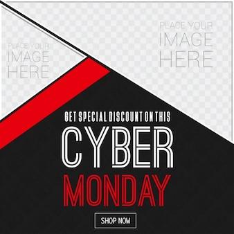 Cyber monday zwart en rood verkoop advertenties