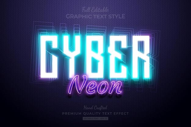 Cyber neon glow bewerkbaar premium teksteffect