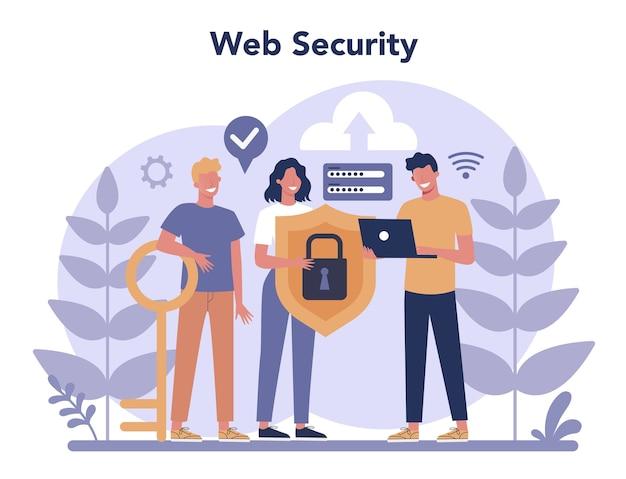 Cyber of web veiligheidsconcept. idee van digitale gegevensbescherming en veiligheid. moderne technologie en virtuele misdaad. beveiligingsinformatie op internet.