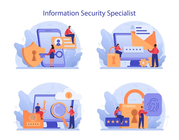 Cyber- of webbeveiligingsspecialist ingesteld. idee van digitale gegevensbescherming en veiligheid.
