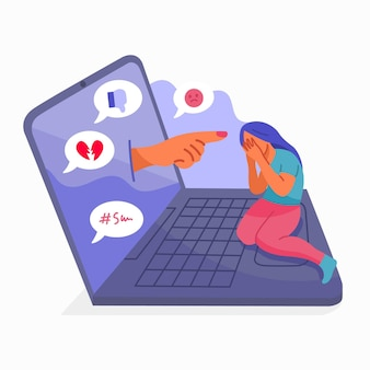 Cyber pesten illustratie ontwerp