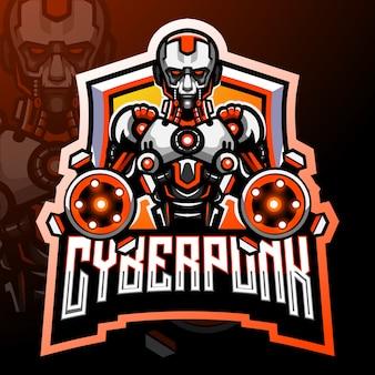 Cyber punk mascotte. esport logo ontwerp