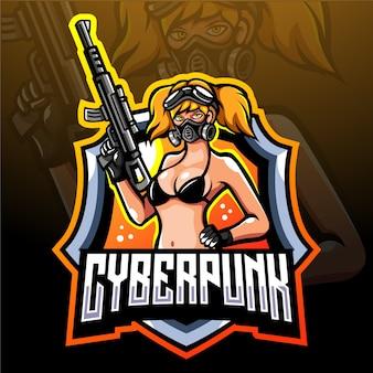 Cyber punk mascotte esport logo ontwerp