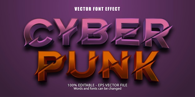 Cyber punk-teksteffect, bewerkbaar teksteffect uitgesneden stijl
