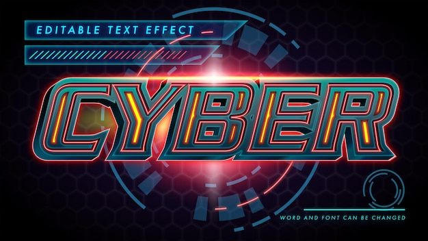 Cyber robot bewerkbare teksteffect sjabloon eps vector bestand