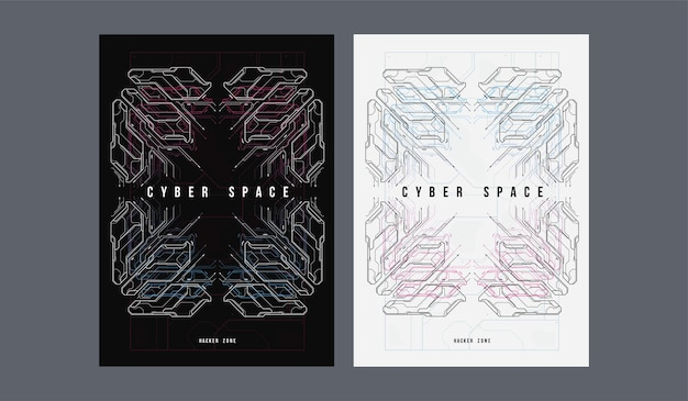 Cyber ruimte futuristische poster. retro futuristische poster sjabloon.