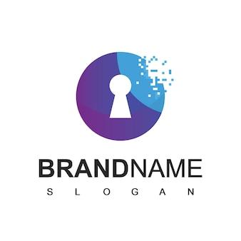 Cyber secure-logo met sleutelgat en pixelsymbool