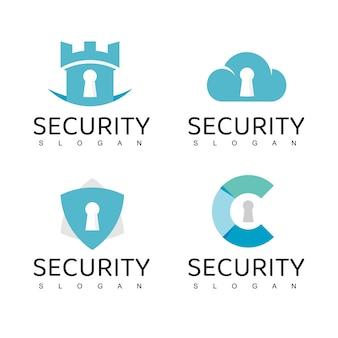 Cyber secure logo ontwerpsjabloon, data cloud beveiligingspictogram