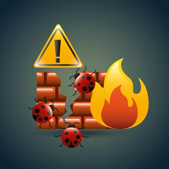 Cyber security concept firewall bugs virusinfectie alert