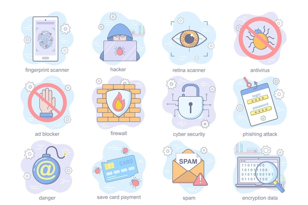 Cyber security concept plat pictogrammen set bundel vingerafdruk of retina scanner hacker antivirus blok...