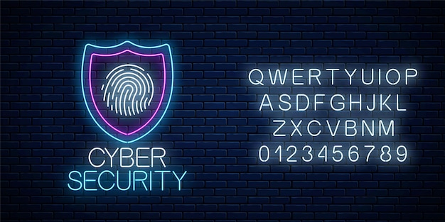 Cyber security gloeiende neon teken met alfabet op donkere bakstenen muur achtergrond. internetbeschermingssymbool met schild en vingerafdruk. vector illustratie.