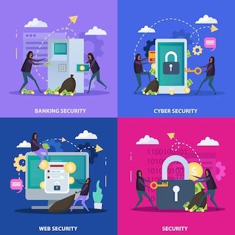 Cyber security illustraties set