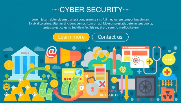 Cyber security infographics sjabloon concept