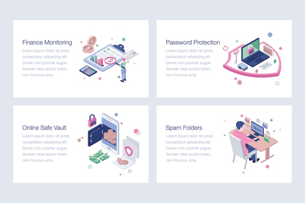 Cyber security isometric vectors pack